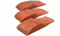Salmon portions without skin