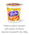 Yogurt dessert with pieces of peach&apricat and Cereals, 0% fat
