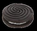 Dark sandwich biscuits with vanilla cream