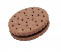 Dark large sandwich biscuit with cocoa cream