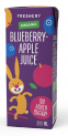 Organic Blueberry-Apple Juice 200 ml with a straw