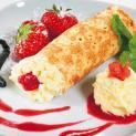 Ice Cream Pancakes - Ice cream vanilla with strawberry sauce