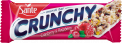 Crunchy bar with cranberries and raspberries with vanilla coating